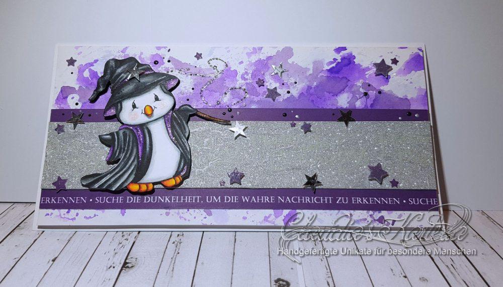 Pinguin-Magier verzauberte Grüsse   Geburtstagskarte