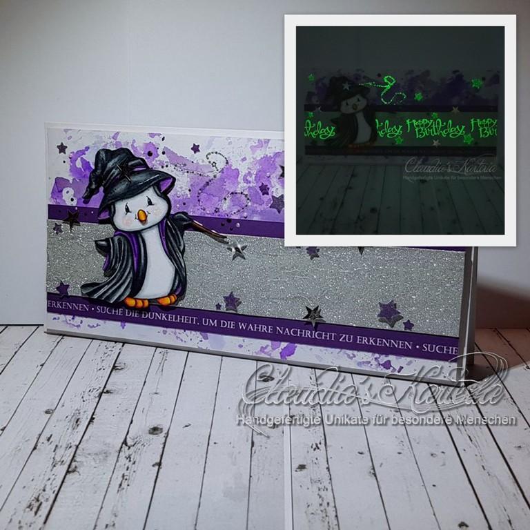 Pinguin-Magier verzauberte Grüsse | Geburtstagskarte