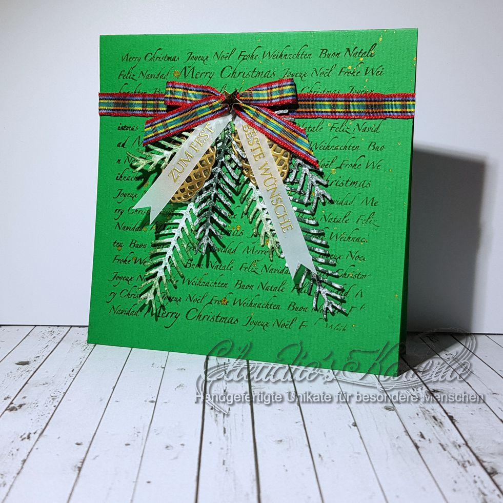 Weihnachtliche Tannenzapfengrüsse zum Fest   Weihnachtskarte