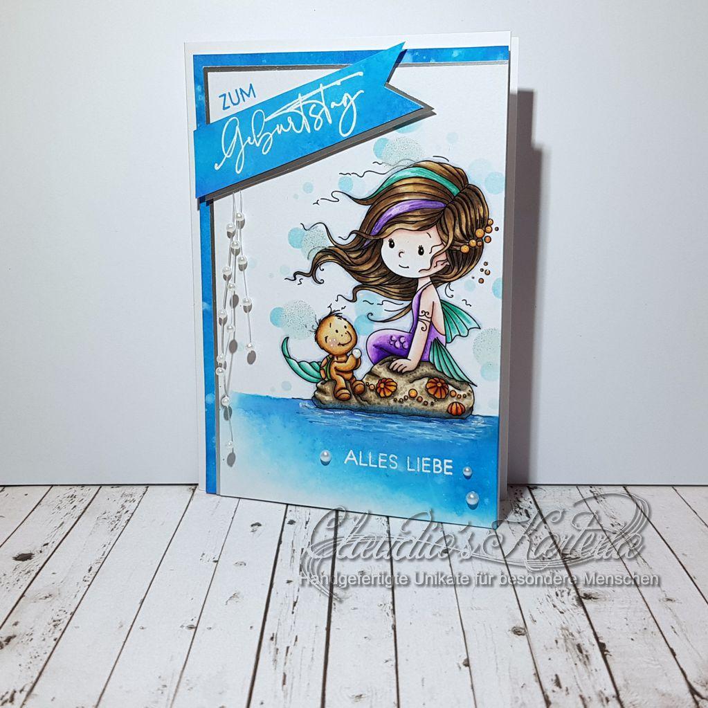 Liebe Meerjungfrau-Grüsse türkis | Geburtstagskarte