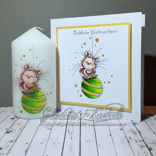 Fröhlicher Weihnachtskugelhamster | Weihnachtskarte & Kerze (Set)
