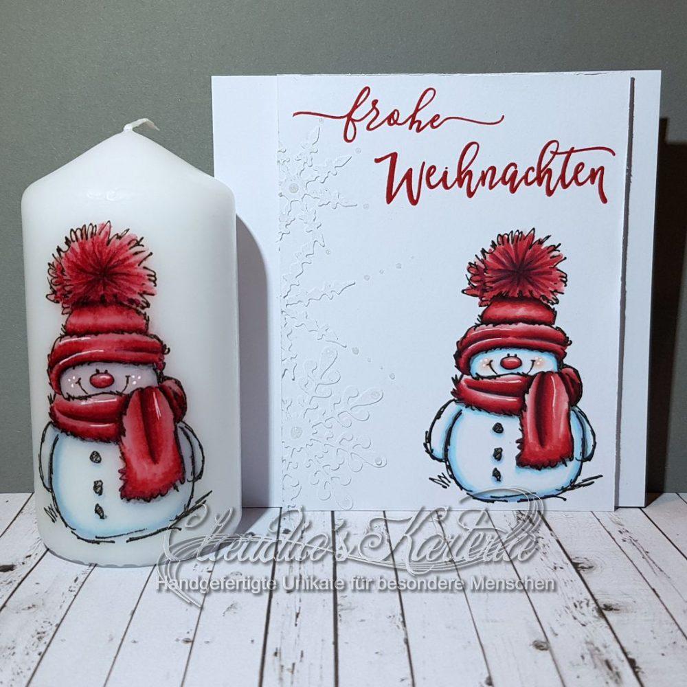 Cooler Schneemann in rot | Weihnachtskarte & Kerze (Set)