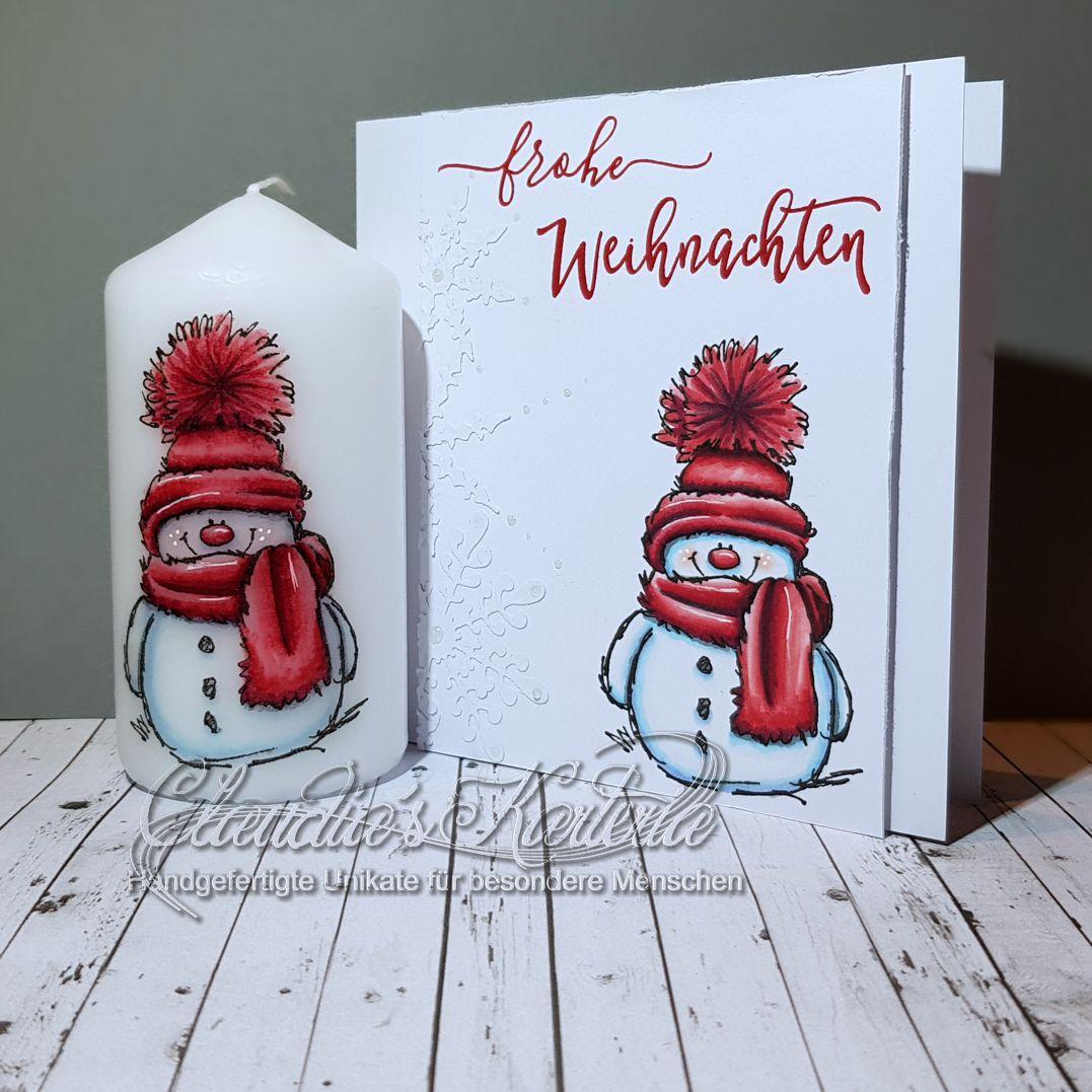 Cooler Schneemann in rot   Weihnachtskarte & Kerze (Set)