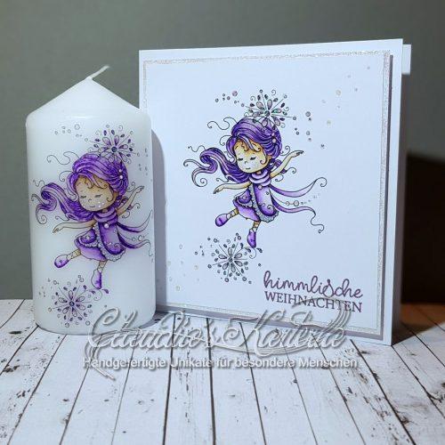 Himmlische Schneeflockentänzerin - violett | Weihnachtskarte & Kerze (Set)