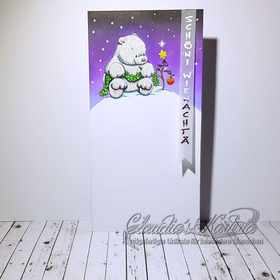 Bärische Weihnachtstanne am Nordpol | Weihnachtskarte