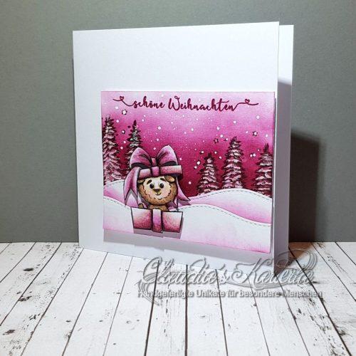 Pinkes Lamageschenk zu Weihnachten | Weihnachtskarte