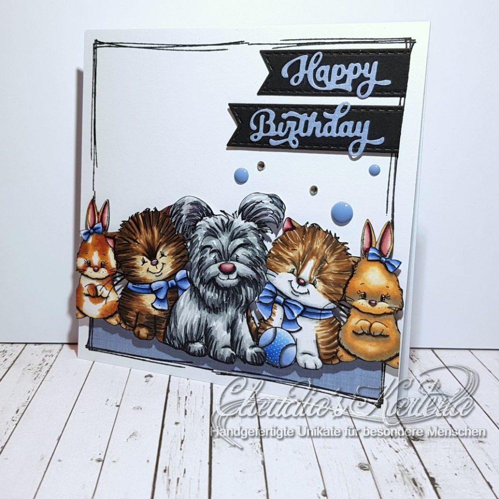 Süsse Vierbeiner-Geburtstags-Truppe | Geburtstagskarte