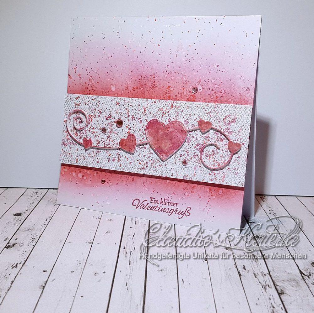 Romantische Herzen auf Tüll | Valentinskarte