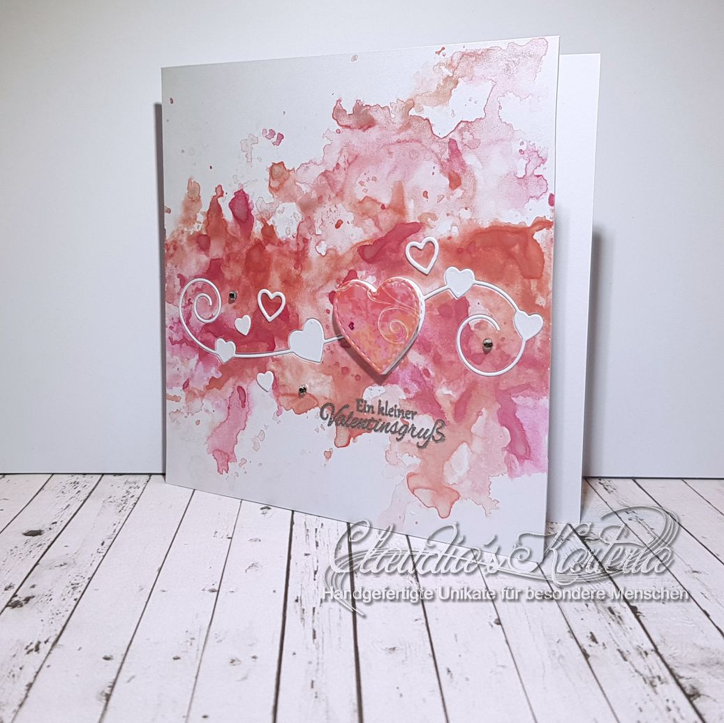 Swirlige Valentins-Herzen auf Aquarell | Valentinskarte