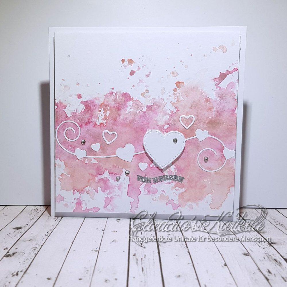 Swirlige Herzen auf Pastell | Valentinskarte