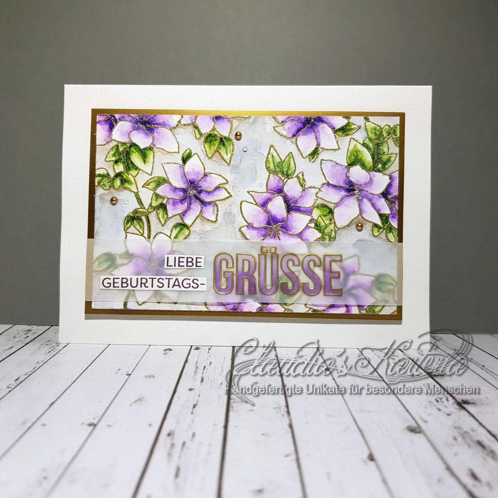 Liebe Clematis-Grüsse | Geburtstagskarte