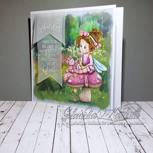 Glücks-Elfe im Blumengarten | Geburtstagskarte