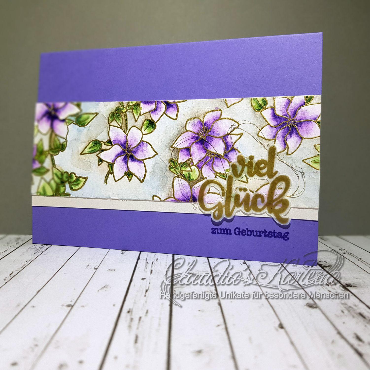 Viel Glück auf Clematis | Geburtstagskarte