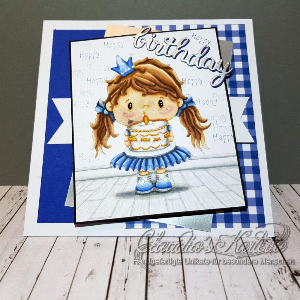 Kuchen-Prinzessin in blau | Geburtstagskarte
