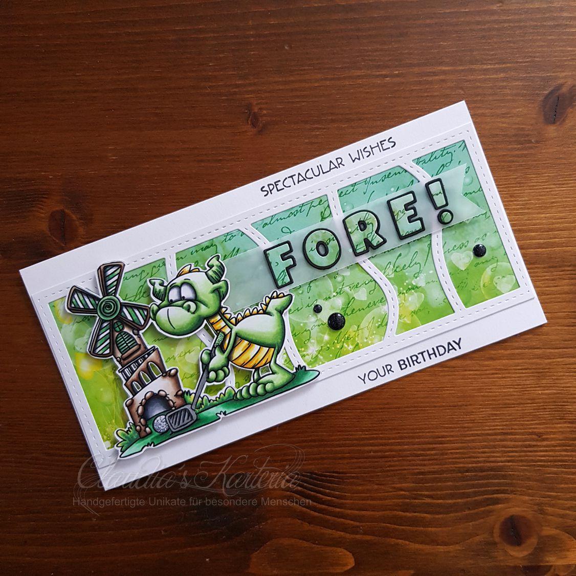 Golf-Drachen Fore! your Birthday grün | Geburtstagskarte