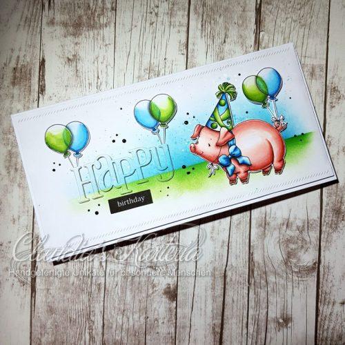 Happy Party-Schweinchen auf grün-blau | Geburtstagskarte