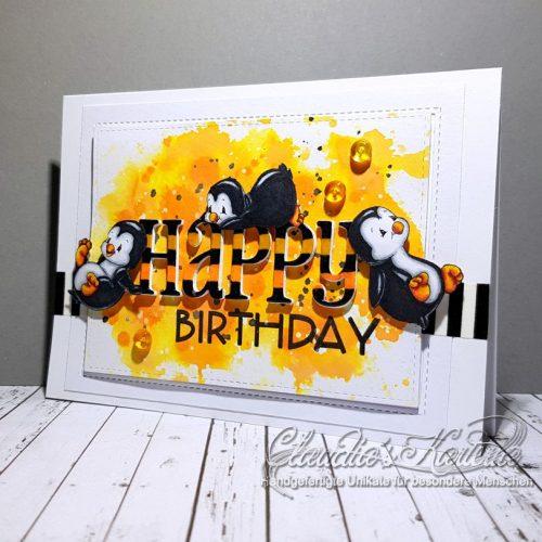 Pinguin-Klecks-Truppe auf orange | Geburtstagskarte