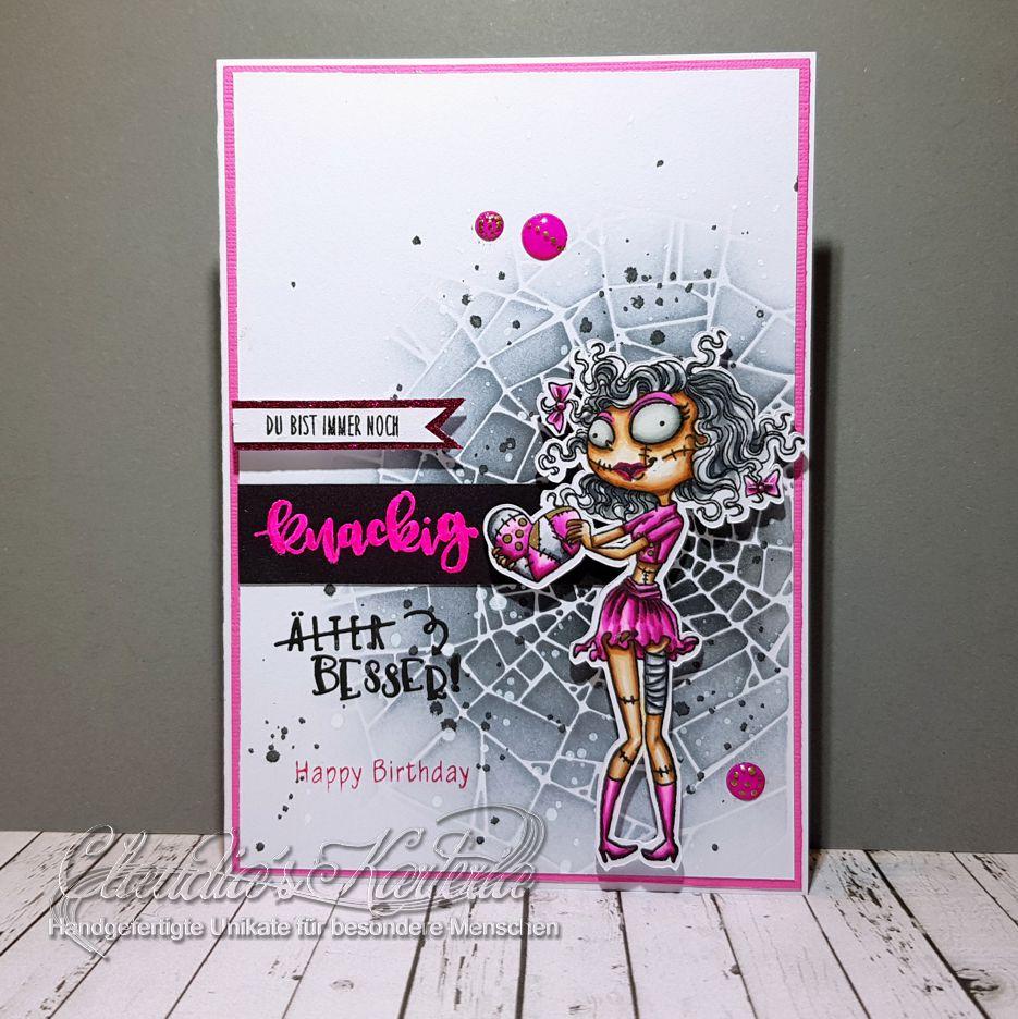 Knackige Herz-Zombiene in pink | Geburtstagskarte