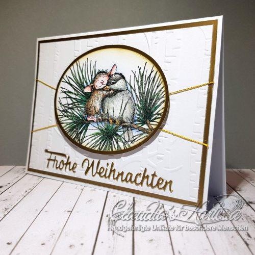 Mäusischer Knuddler im Wald | Weihnachtskarte