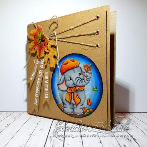 Hoch gefeierter Herbstelefant | Geburtstagskarte