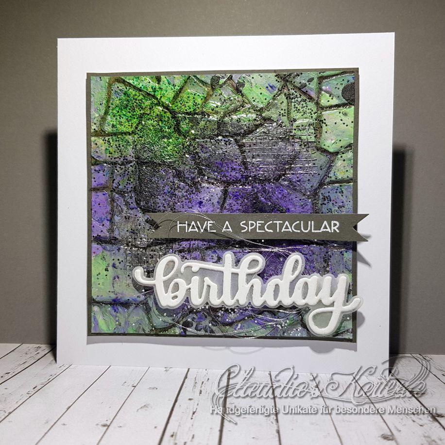 Spektakuläre Mauerkunst violett-grün | Geburtstagskarte